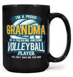 Proud (Nickname) of an Awesome Volleyball Player - Personalized Mug - Black / Large - 15oz