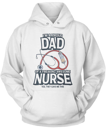Proud (Nickname) of an Awesome Nurse - T-Shirt - Pullover Hoodie / White / S
