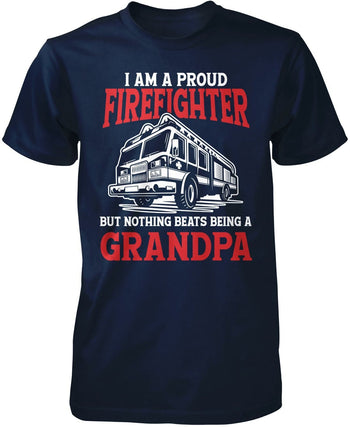Proud Firefighter - Nothing Beats Being a (Nickname) - T-Shirt - Premium T-Shirt / Navy / S