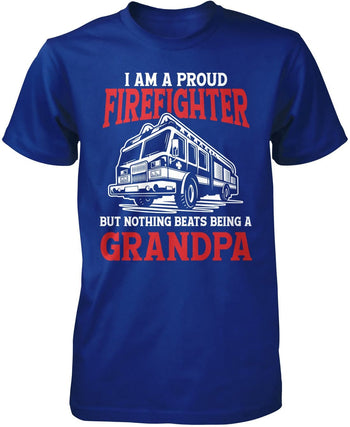Proud Firefighter - Nothing Beats Being a (Nickname) - T-Shirt - Premium T-Shirt / Royal / S