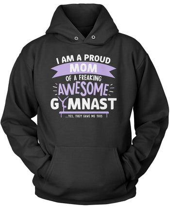 Proud (Nickname) of an Awesome Gymnast - Personalized T-Shirt - Pullover Hoodie / Black / S
