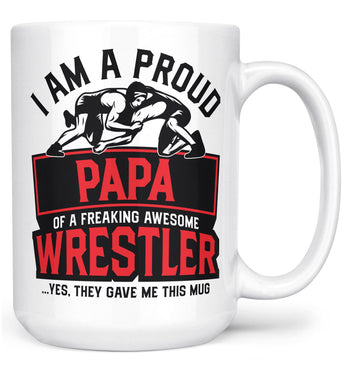 Proud (Nickname) of an Awesome Wrestler - Personalized Mug - White / Large - 15oz