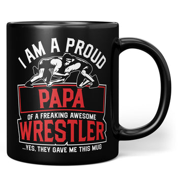 Proud (Nickname) of an Awesome Wrestler - Personalized Mug - Black / Regular - 11oz