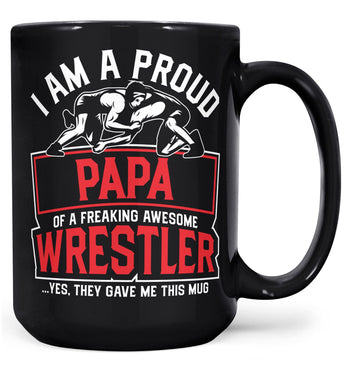 Proud (Nickname) of an Awesome Wrestler - Personalized Mug - Black / Large - 15oz