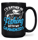 I'd Rather Be Fishing with My Grandkids - Mug - Black / Large - 15oz
