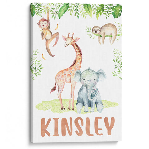 Safari Friends - Personalized Canvas - Baby or Child Gift Idea