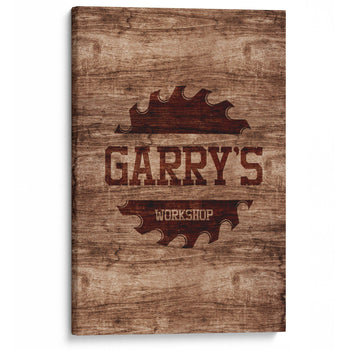 Sawblade Personalized Woodworking Workshop Canvas