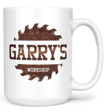 Sawblade Personalized Workshop Mug - White / Large - 15oz