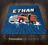 Semi Truck - Personalized Blanket - [variant_title]