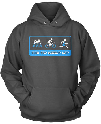 Tri To Keep Up - Pullover Hoodie / Dark Heather / S