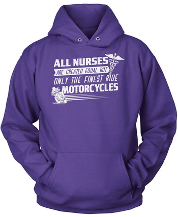 The Finest Nurses Ride Motorcycles - Pullover Hoodie / Purple / S