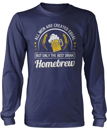 Only the Best Men Drink Homebrew - Long Sleeve T-Shirt / Navy / S