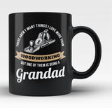 This Grandad Loves Woodworking - Black Mug / Tea Cup