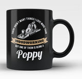 This Poppy Loves Woodworking - Black Mug / Tea Cup