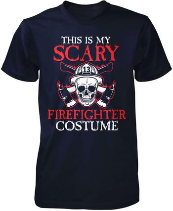 This Is My Scary Firefighter Costume - Premium T-Shirt / Navy / S