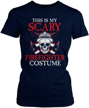 This Is My Scary Firefighter Costume - Women's Fit T-Shirt / Navy / S