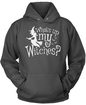 What's Up My Witches? - Pullover Hoodie / Dark Heather / S