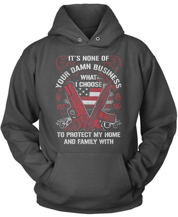 Protect My Family - Pullover Hoodie / Dark Heather / S