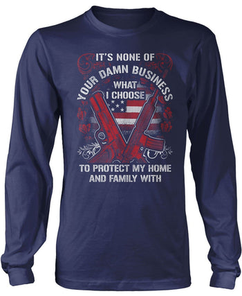 Protect My Family - Long Sleeve T-Shirt / Navy / S