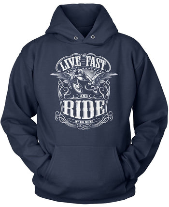Live Fast and Ride Free - Pullover Hoodie / Navy / S