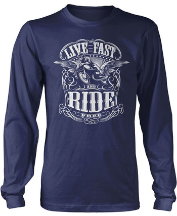 Live Fast and Ride Free - Long Sleeve T-Shirt / Navy / S