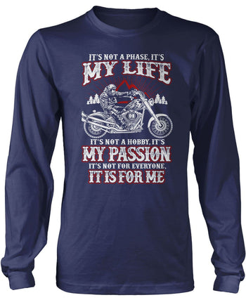 Motorcycles - My Life, My Passion - Long Sleeve T-Shirt / Navy / S