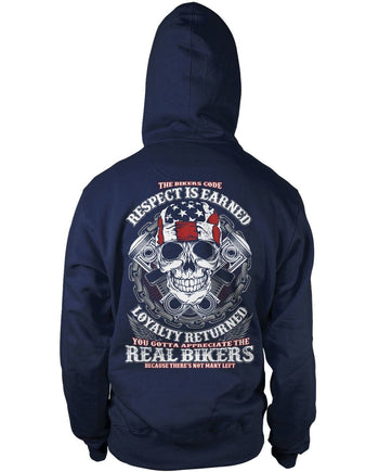 The Bikers Code (Back Design) - Pullover Hoodie / Navy / S