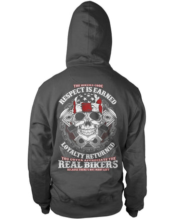 The Bikers Code (Back Design) - Pullover Hoodie / Dark Heather / S