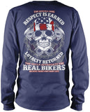 The Bikers Code (Back Design) - Long Sleeve T-Shirt / Navy / S