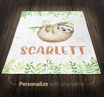 Sleepy Sloth - Personalized Blanket - [variant_title]