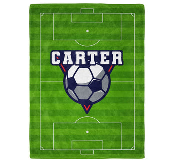 Soccer - Personalized Name Blanket - Micro Fleece