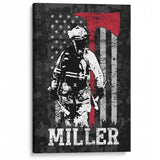 Thin Red Line Firefighter - Personalized Canvas Gift