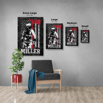 Thin Red Line - Personalized Canvas - [variant_title]