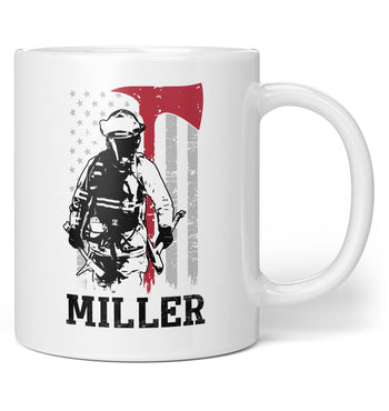 Thin Red Line Firefighter - Personalized Mug
