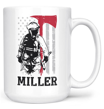Thin Red Line - Personalized Mug - White / Large - 15oz