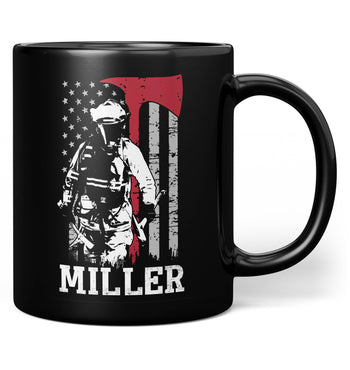 Thin Red Line - Personalized Mug - Black / Regular - 11oz