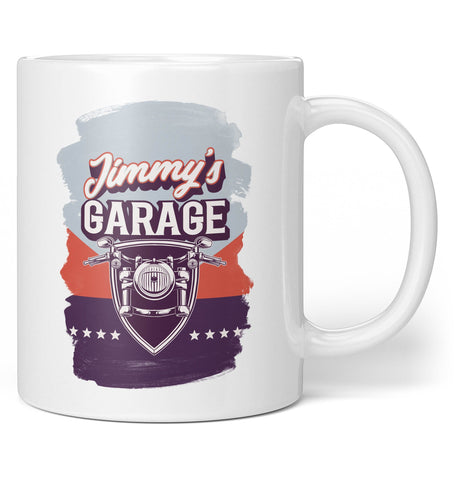 Vintage Style Motorcycle Garage - Personalized Mug / Tea Cup