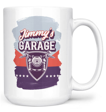 Vintage Style Motorcycle Garage - Personalized Mug - White / Large - 15oz