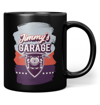 Vintage Style Motorcycle Garage - Personalized Mug - Black / Regular - 11oz