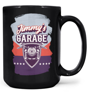 Vintage Style Motorcycle Garage - Personalized Mug - Black / Large - 15oz