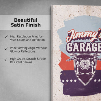 Vintage Style Motorcycle Garage - Personalized Canvas - [variant_title]