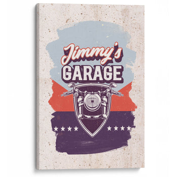 Vintage Style Motorcycle Garage - Personalized Canvas