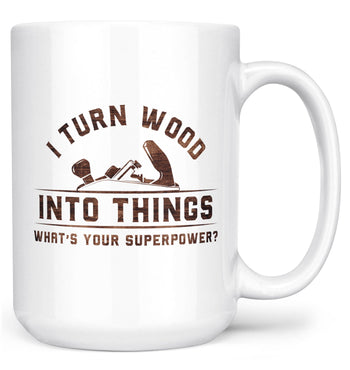 Wood Superpower (Plane) - Mug - White / Large - 15oz