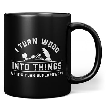 Wood Superpower (Plane) - Mug - Black / Regular - 11oz