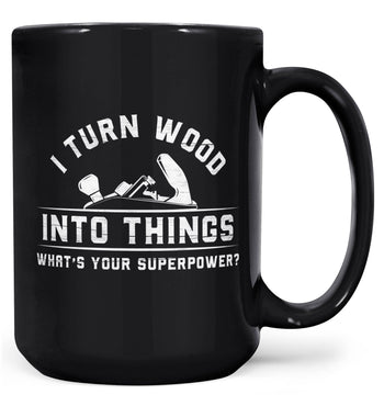 Wood Superpower (Plane) - Mug - Black / Large - 15oz