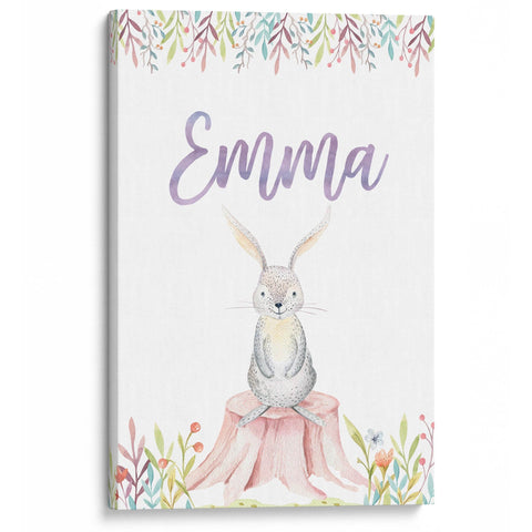 Woodland Bunny - Personalized Canvas - Baby or Child Gift Idea