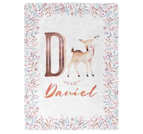 Woodland Deer - Personalized Name Blanket - Micro Fleece