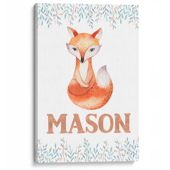 Woodland Fox - Personalized Kids Canvas Wall Art