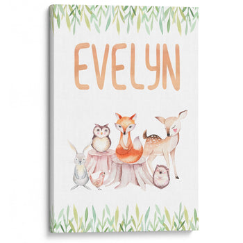 Woodland Friends - Personalized Canvas - Baby or Child Gift Idea