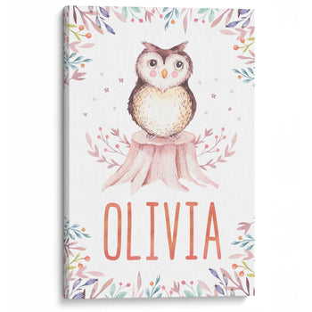 Woodland Owl - Personalized Canvas - Baby or Child Gift Idea